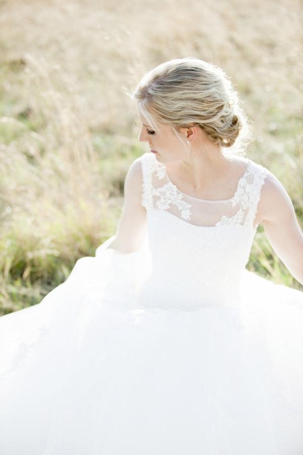 Bride in illusion neckline wedding dress