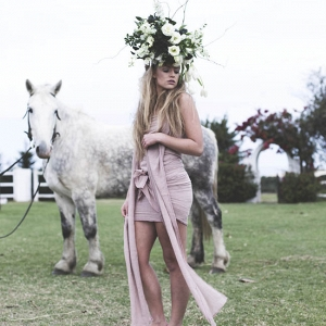 Bohemian Bridesmaid with Flower Crown