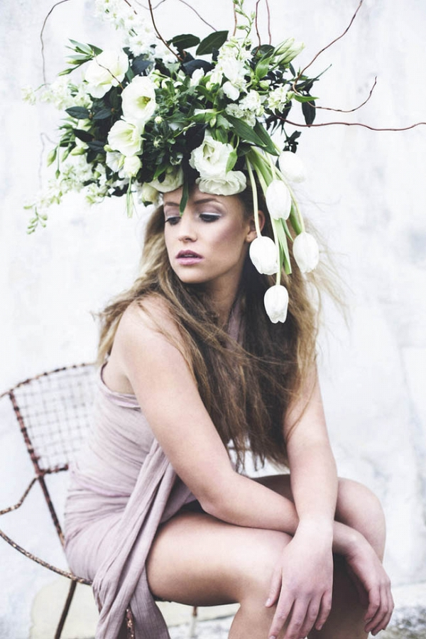 Bridesmaid with Oversize Floral Headpiece