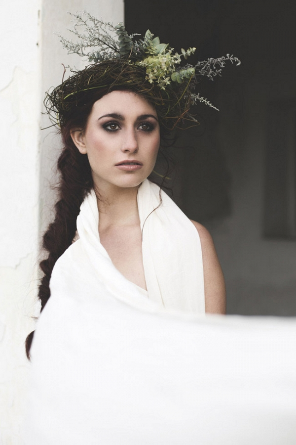 Boho Bridesmaid in Greenery Headpiece