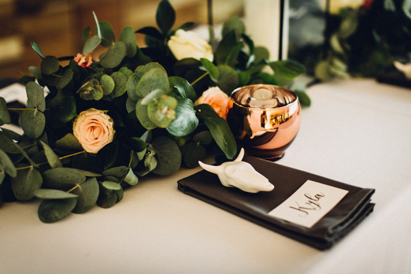 Place Setting with Ceramic Skull Favor