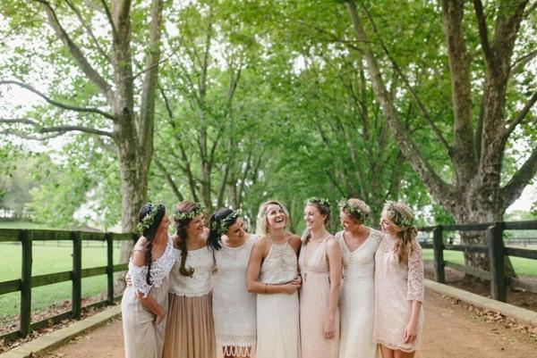 Mismatched Boho Bridesmaids