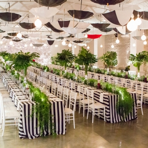 Bold modern reception decor