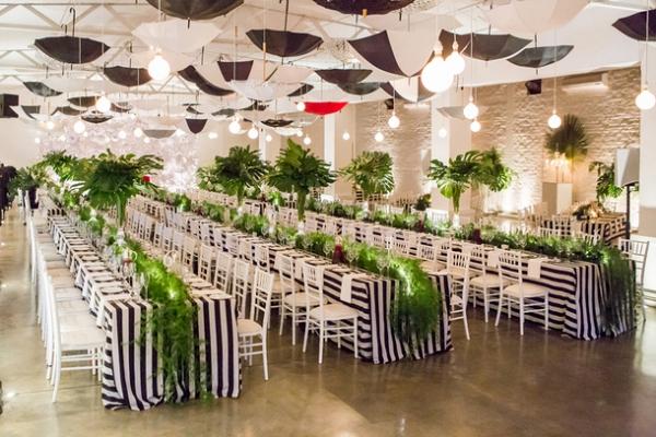 Bold modern reception decor