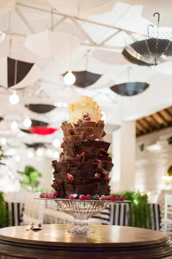 Chocolate ombre wedding cake