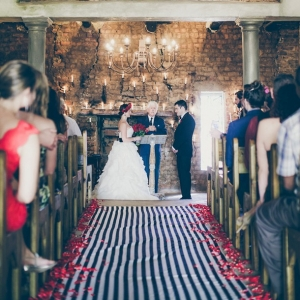 Monochrome stripe aisle runner