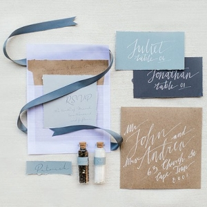 Blue calligraphy wedding stationery