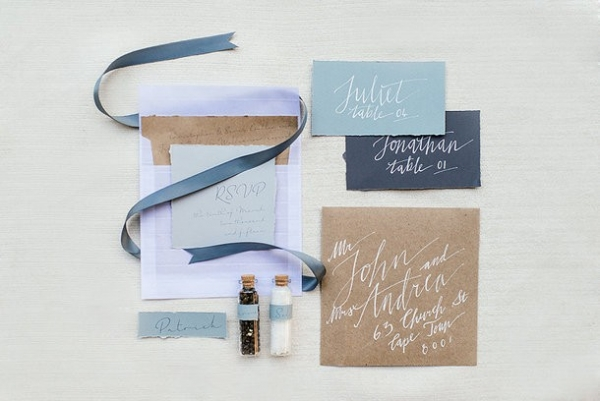 Blue calligraphy wedding stationery
