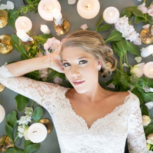 Bride with Candles & Greenery