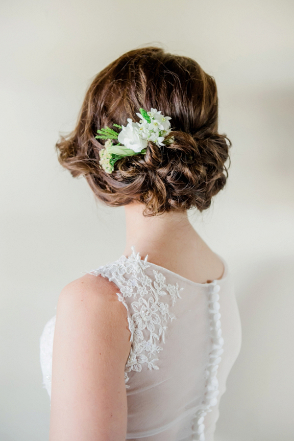 Bride with Fresh Flowers in Updo