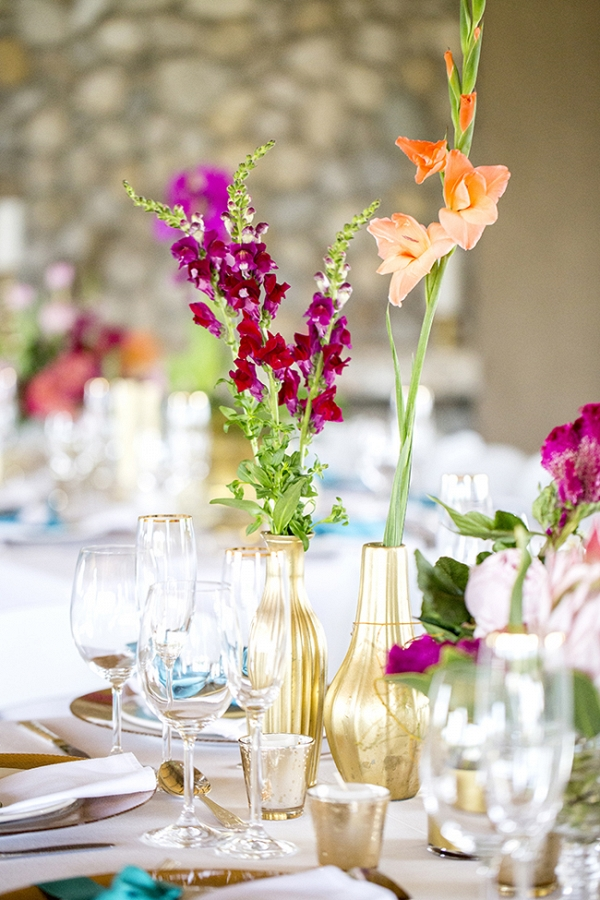 Bright Flowers in Gold Vases