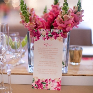 Pink watercolor menu