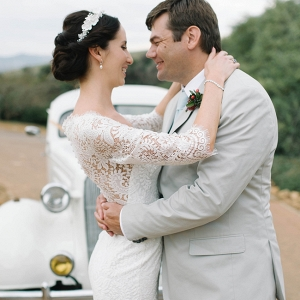 Bride & Groom with Vintage Car