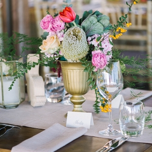 Table Decor with Bright Flowers