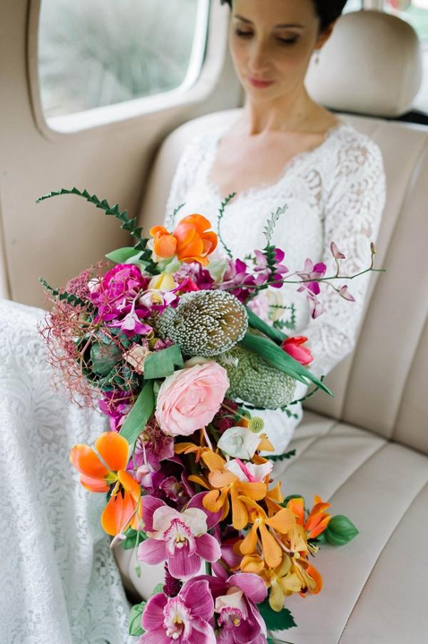 Colorful Bright Cascade Bouquet