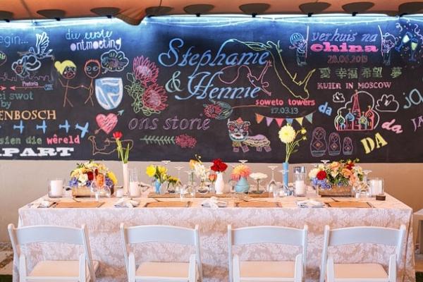Chalkboard Love Story Backdrop