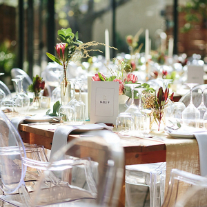 Clear & Rustic Table Decor