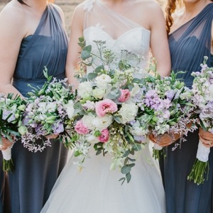 Bridesmaids in Grey Dresses
