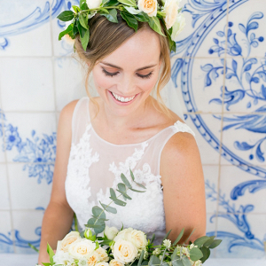 Bride in Floral Crown with Bouquet