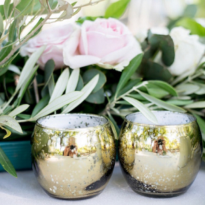 Gold Votive Holders and Greenery Runner