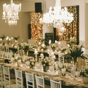 Wedding reception with twinkle lights