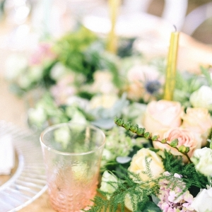Peach, Pink & Green Centerpiece