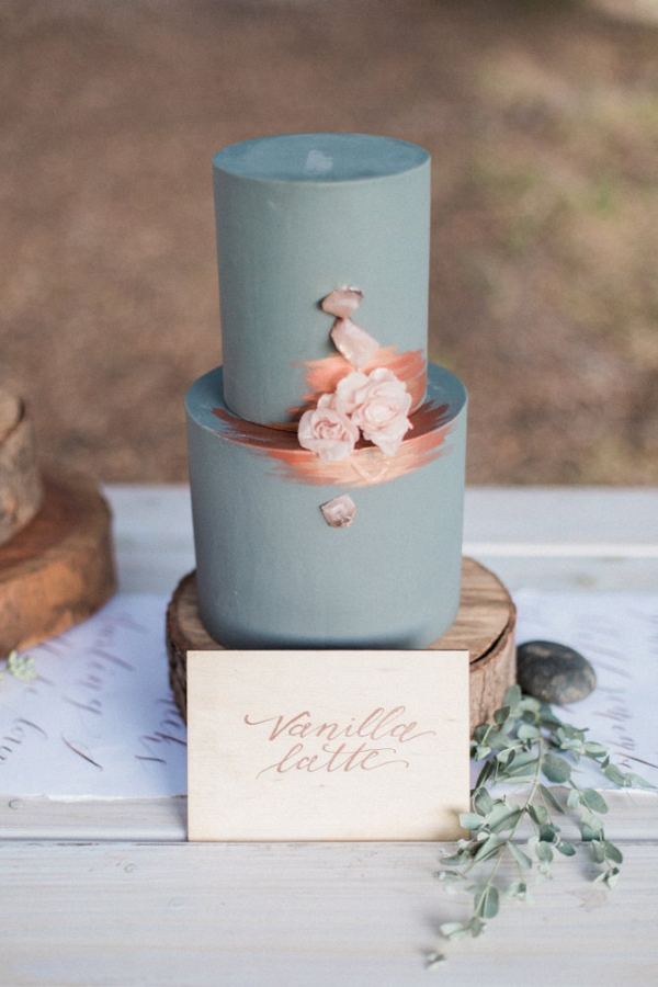 Blue Iced Cake with Copper Detail