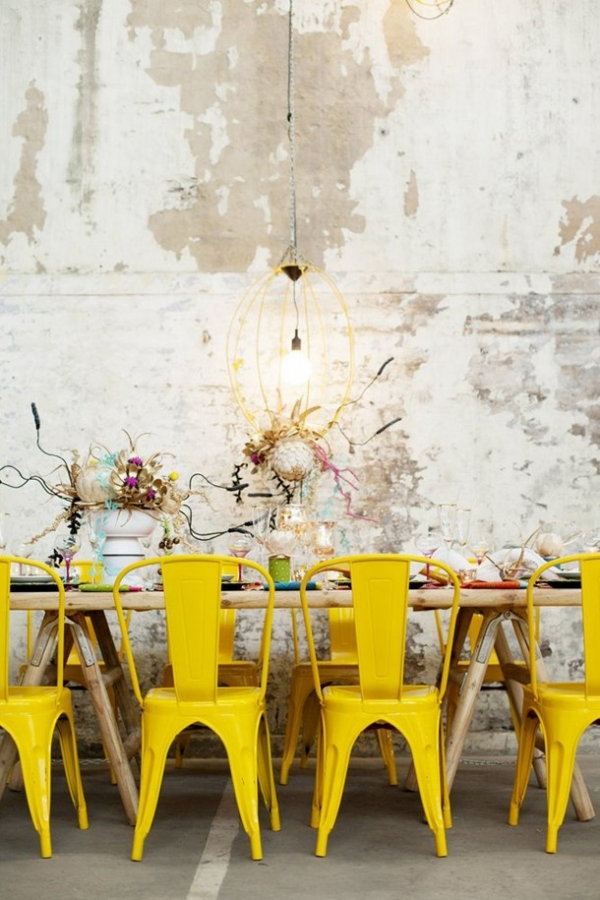 Colorful industrial wedding table