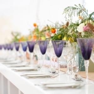 Tablescape with colorful glassware