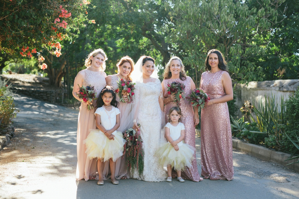 Mix and Match Pink Sequin Bridesmaids