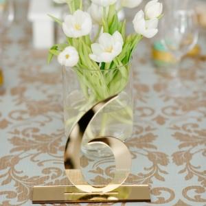 Gold laser cut table number