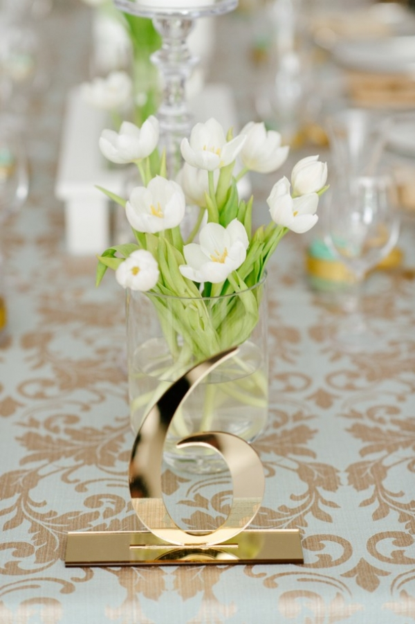 Gold laser cut table number
