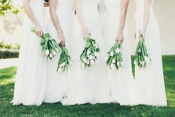 Tulip bridesmaid bouquets