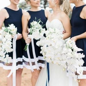 Navy Stripe Bridesmaid Dresses