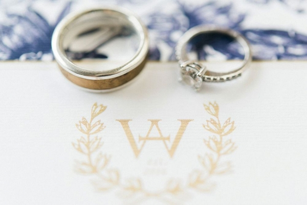 Rings with Gold Monogram Stationery