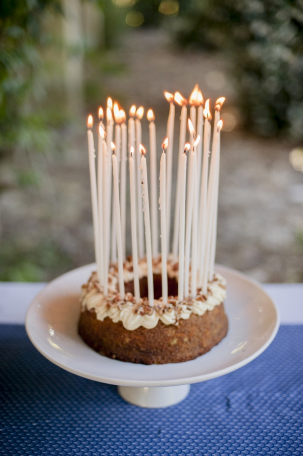 Bundt Cake with Tall Taper Candles