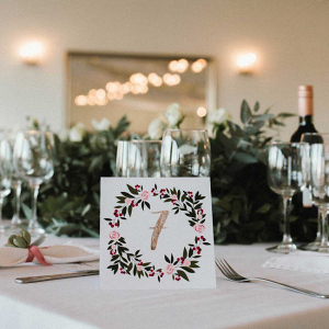 Watercolor Style Table Numbers
