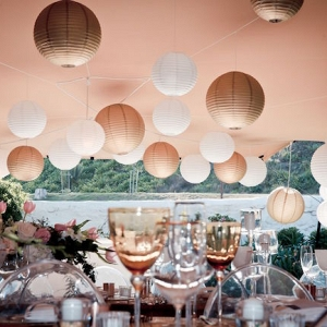 Reception Decor with Gold & White Paper Lanterns