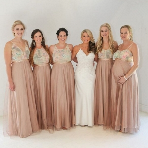 Watercolor Print Bridesmaid Dresses