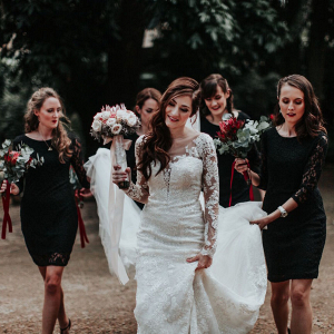 Bridesmaids in Black Lace