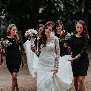 Bridesmaids in Black Lace