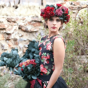 Bride in Floral Print Dress and Flower Headpiece