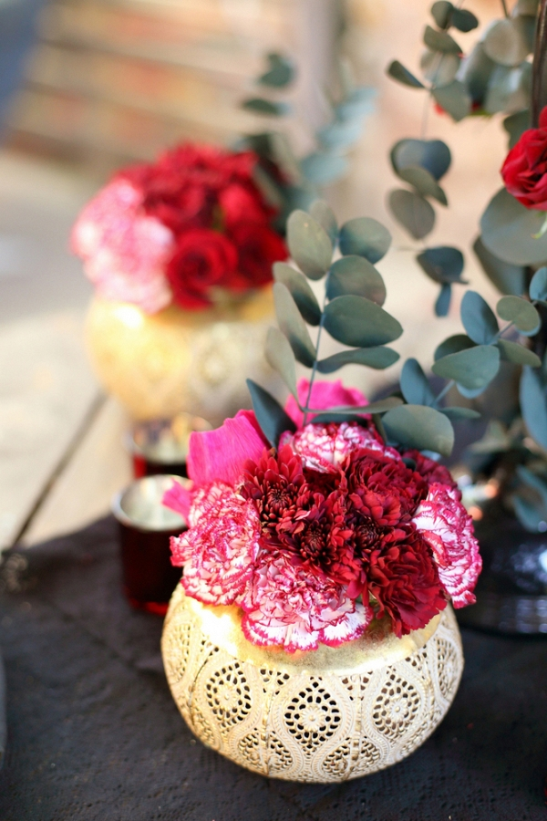 Carnations in Gold Vases