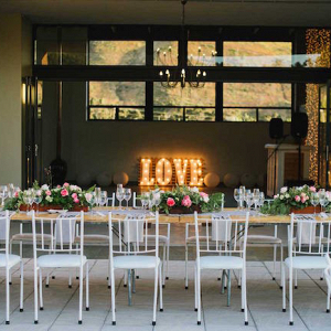Reception Decor with Marquee Letter Lights