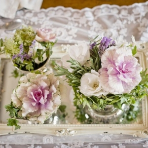 Flowers on vintage tray