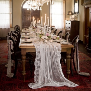 Lace draped table