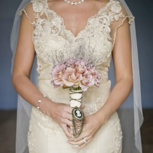 Vintage wedding dress & bouquet