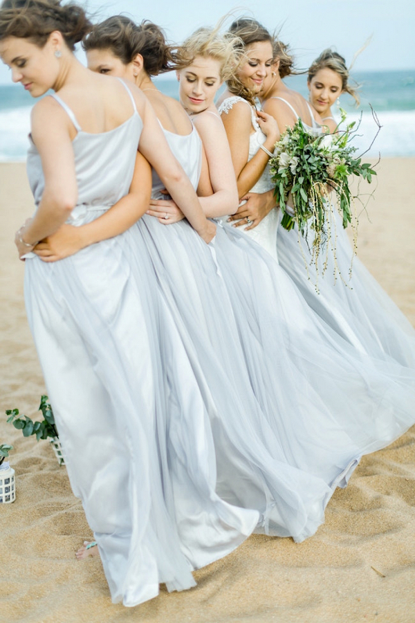 Beach Bridesmaids in Pale Blue Gowns