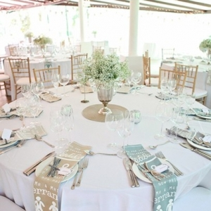 Wedding tables with teatowel napkins
