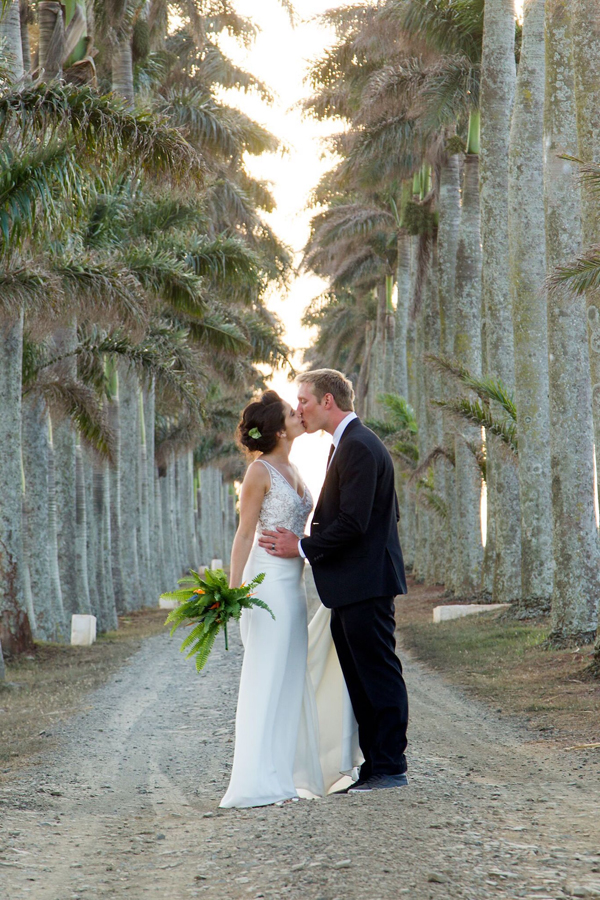 Bride and Groom on Tropical Lane